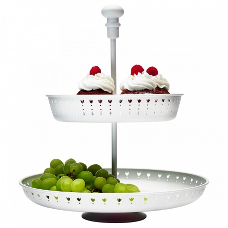 ظرف شیرینی ایکیا دو طبقه سفید GARNERA